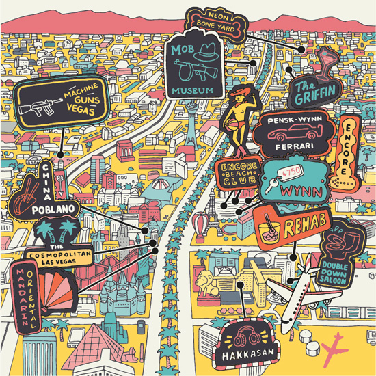 An illustrated map of Las Vegas With Neon Signs