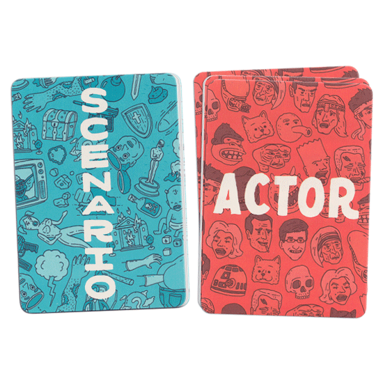 Scenario and Actor cards from the party game God Hates Charades