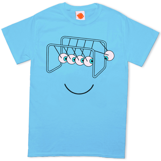 A blue t-shirt with a Newton's Cradle Design where the balls are replaced with eyes