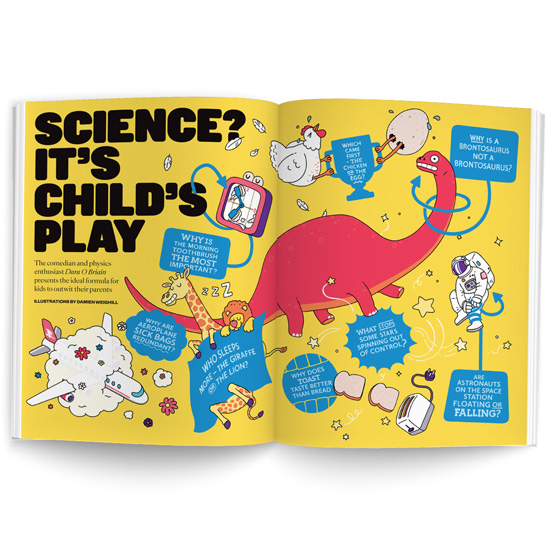 A double page spread from The Sunday Times Magazine with an article titles Science? It's Child's Play. Illustrations of a dinosaur, astronaut, chicken and various other items cover the pages.